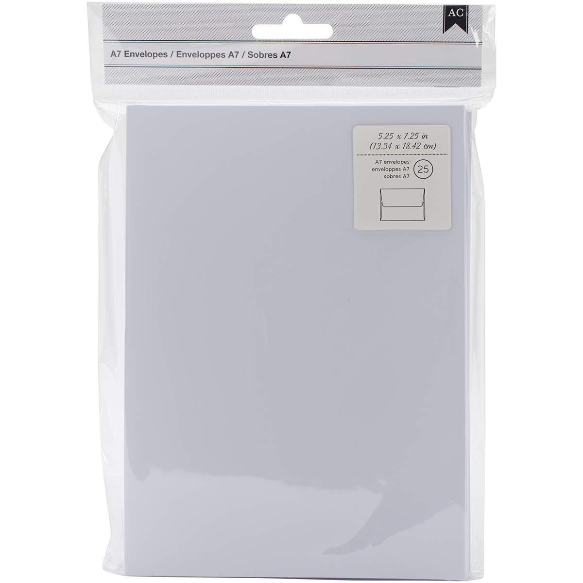 American Crafts A7 Envelopes (5.25X7.25) 25/Pkg-White