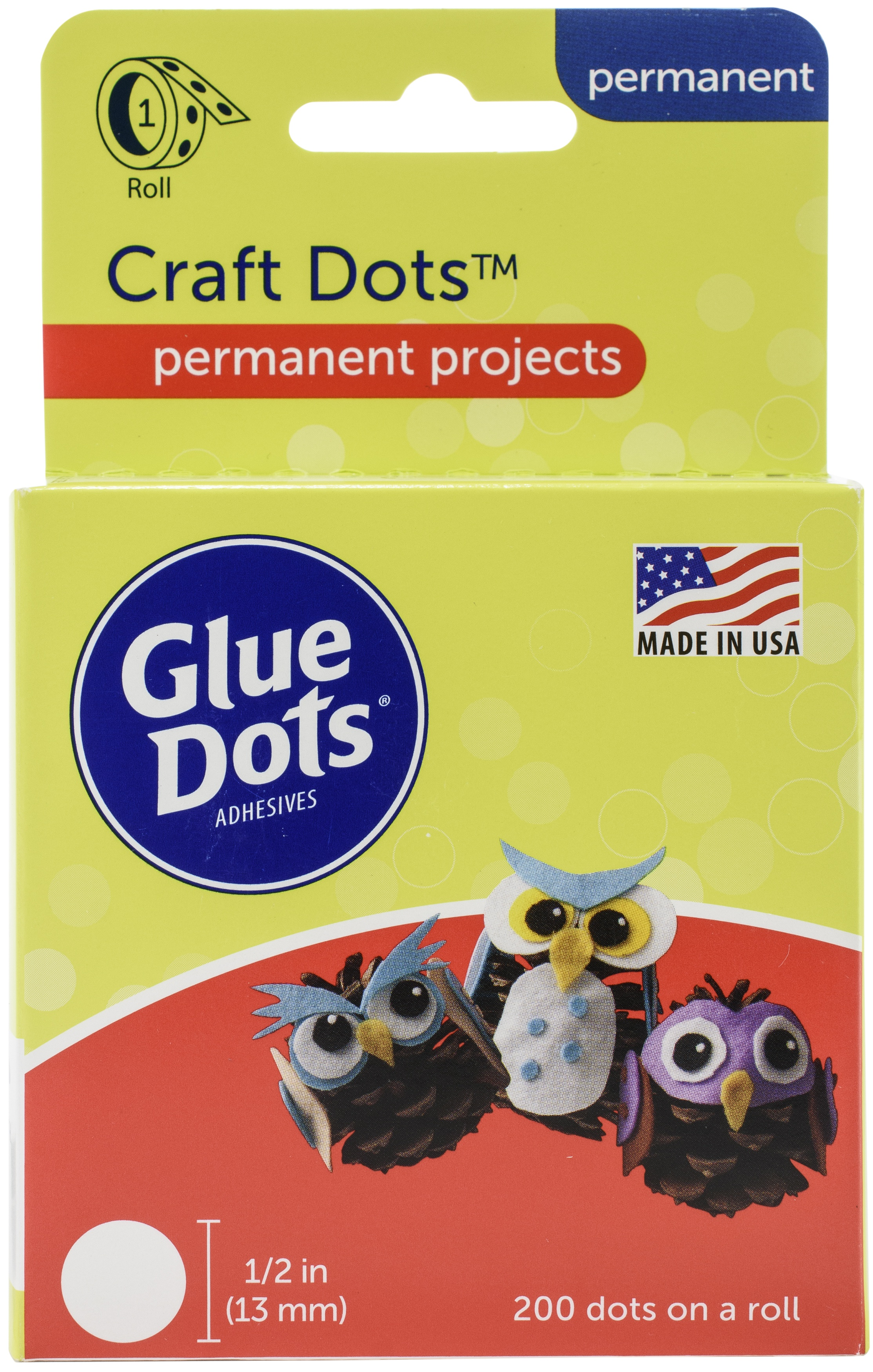 Glue Dots .5 Craft Dot Roll-200 Clear Dots