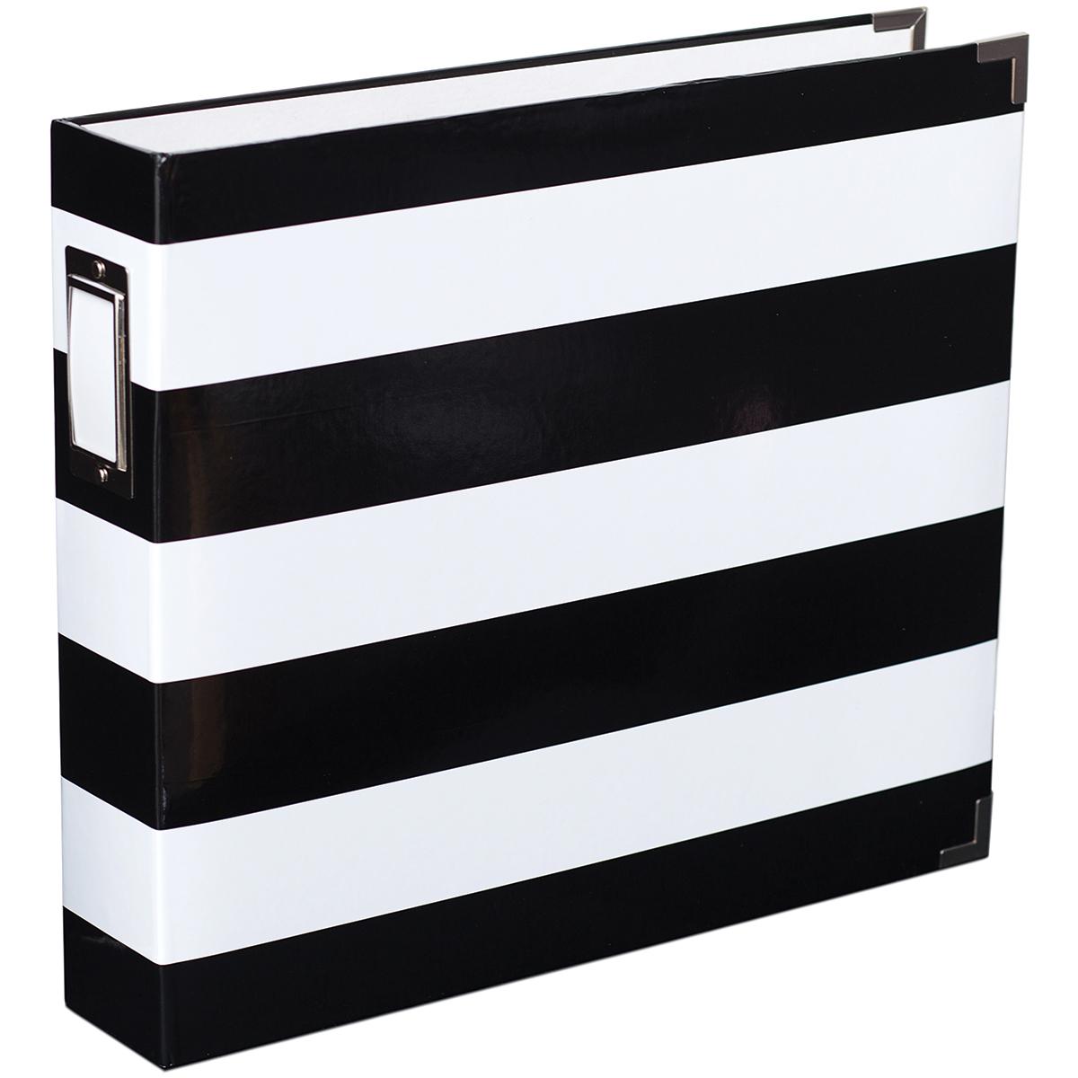 Project Life D-Ring Album 12X12-Black & White Stripe By Heidi Swapp