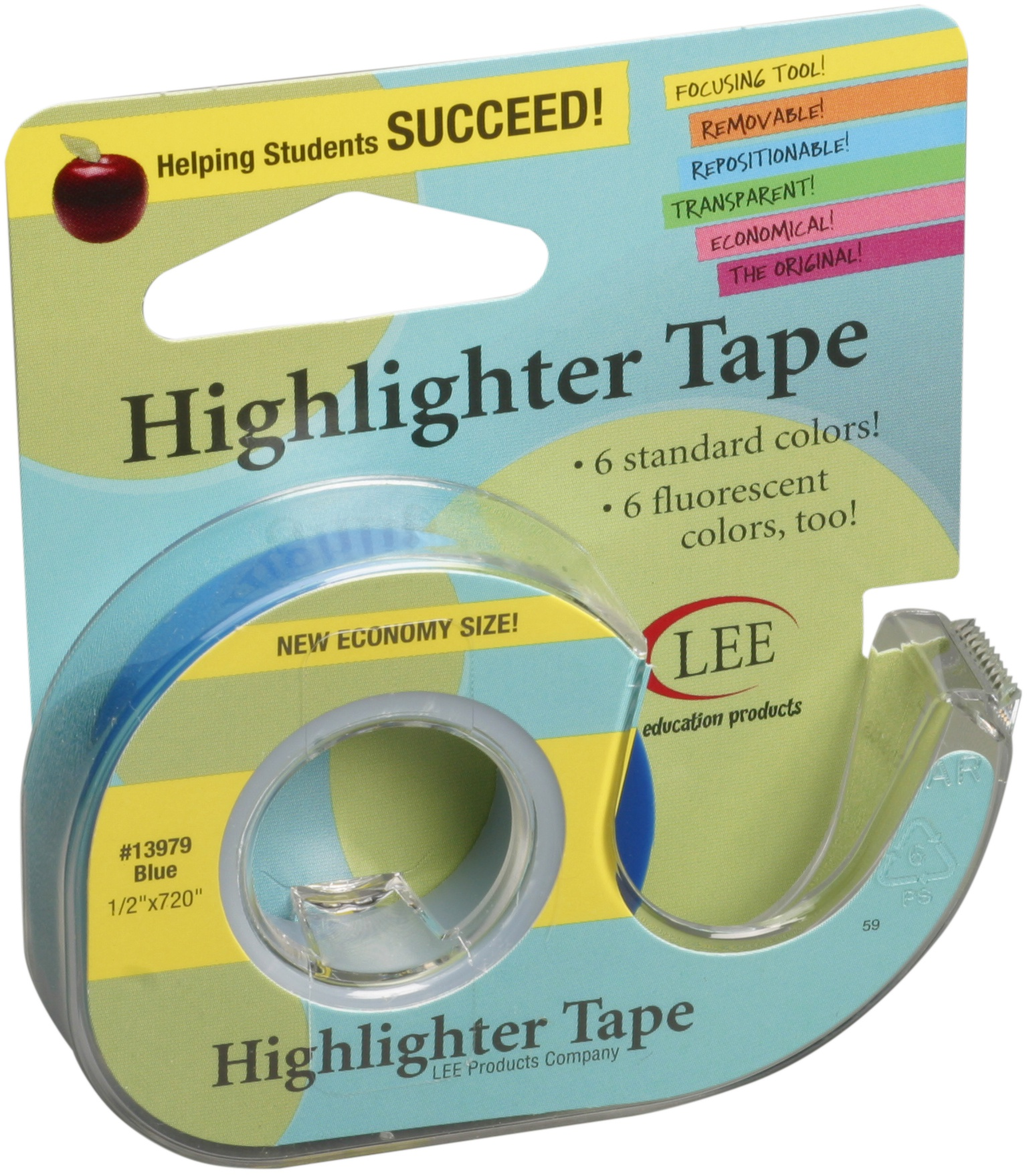 Lee Products Removeable Highlighter Tape .5X720-Blue