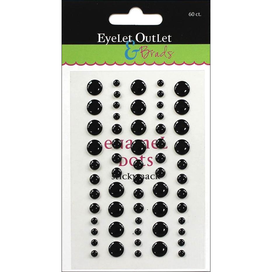 Eyelet Outlet Adhesive-Back Enamel Dot 60/Pkg-Black