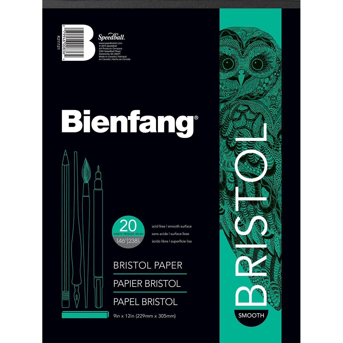 White Drawing Bristol Pads, 528-P Smooth Bristol Pad, 9 x 12 20 Shts