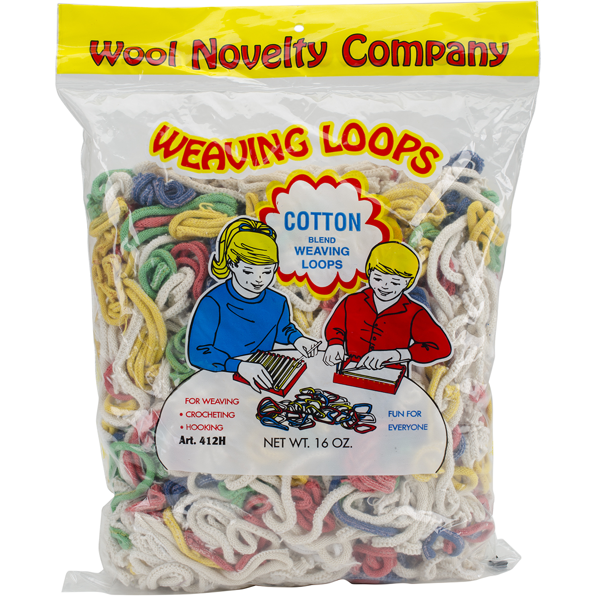 Wool Novelty Cotton Weaving Loops 16oz. Bag Primary Mix.