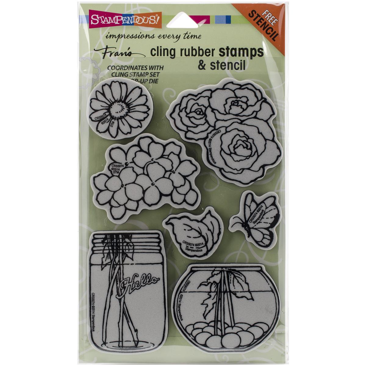 Stampendous Cling Stamps & Stencil Set-Build A Bouquet Set