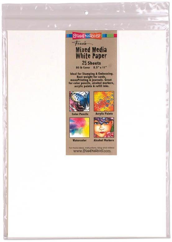 Stampendous Mixed Media Paper 8.5X11 25/Pkg-White