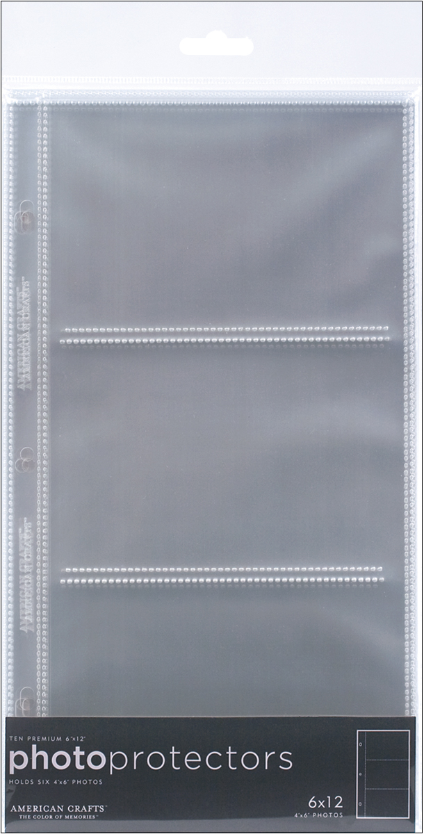 American Crafts Page Protectors Side-Loading 6X12 10/Pkg-(3) 6X4 Pockets