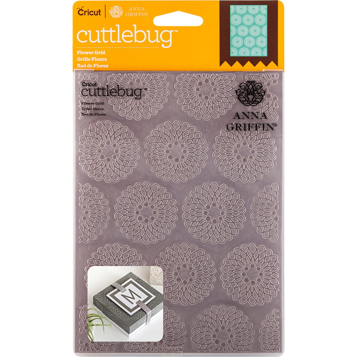 Cuttlebug 5X7 Embossing Folder By Anna Griffin-Flower Grid