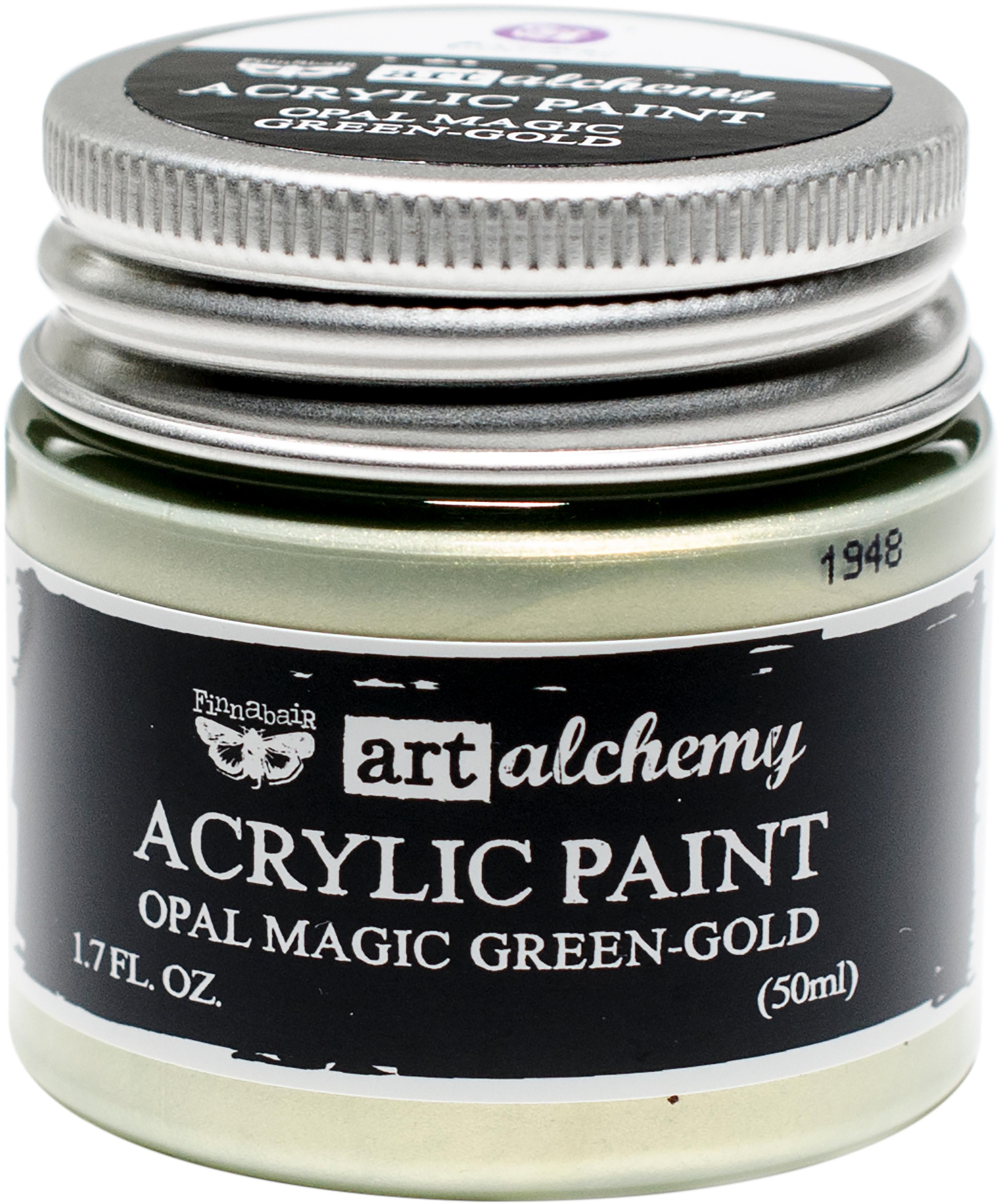 Finnabair Art Alchemy Opal Magic Acrylic Paint 1.7 Fl Oz-Opal Magic Green/Gold