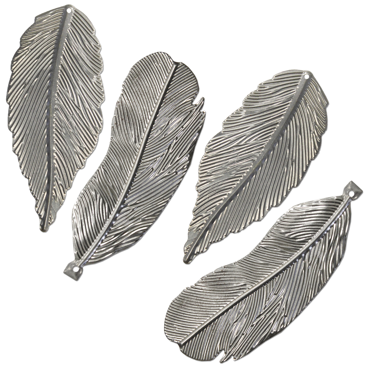 Metal Feathers 4/Pkg-3