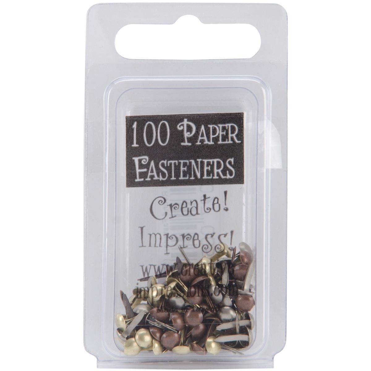 Creative Impressions Mini Metal Paper Fasteners 3mm 100/Pkg-Round - Antique
