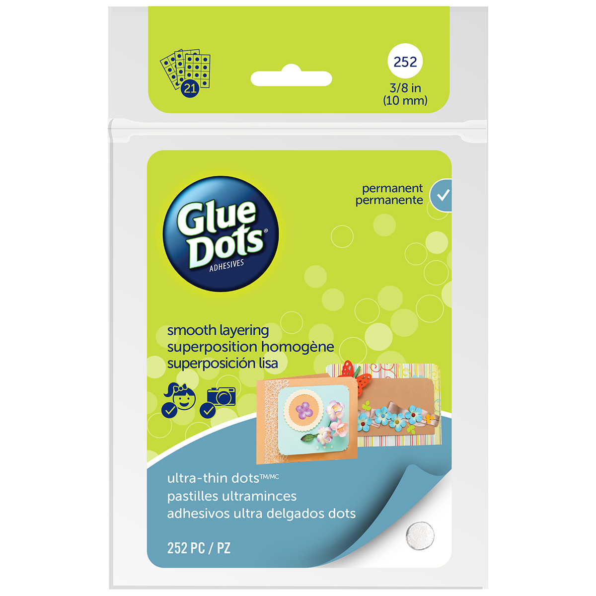 Glue Dots - Permanent Dots 3/8 (10mm) 21 Sheets