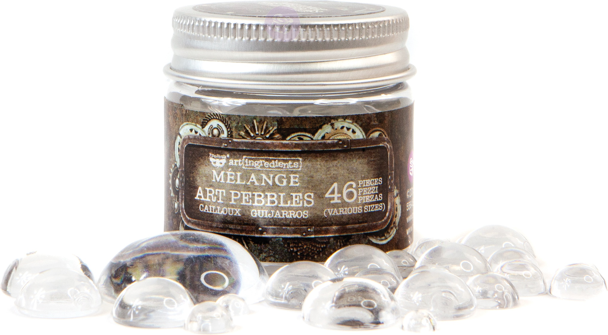 Finnabair Art Ingredients Melange Art Pebbles 46/Pkg-Assorted Sizes