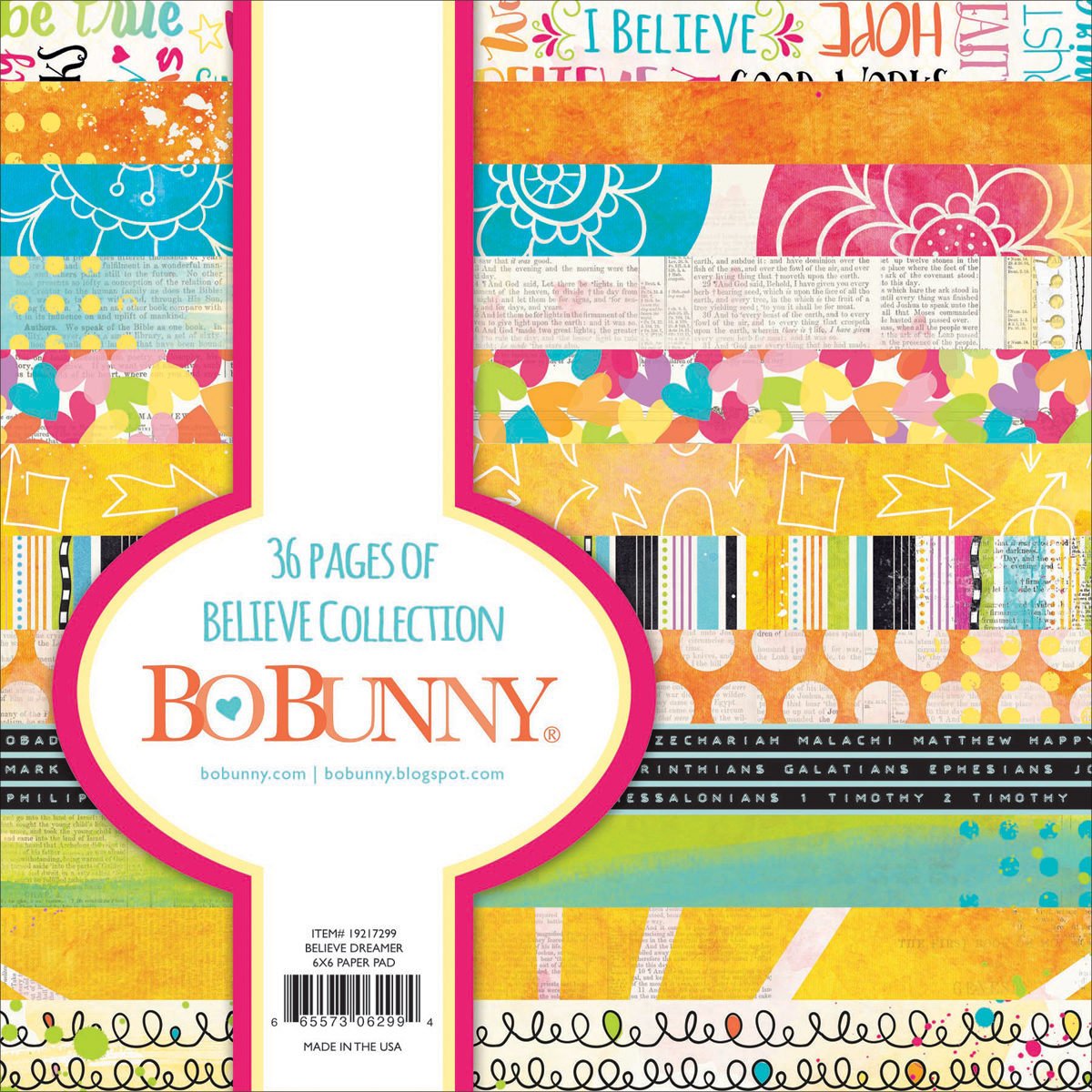 BoBunny Single-Sided Paper Pad 6X6 36/Pkg-Believe, 12 Designs/3 Each