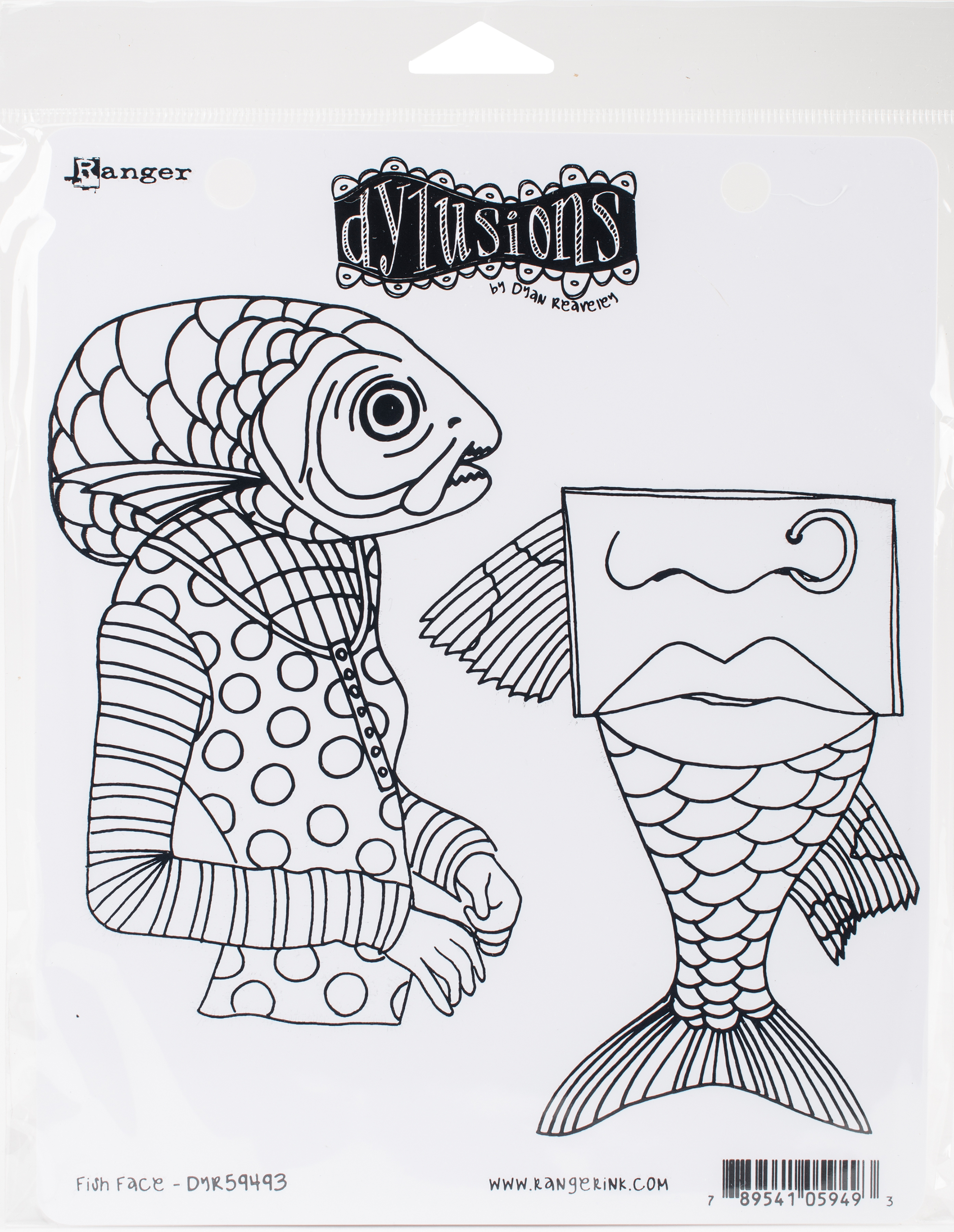 Dyan Reaveley's Dylusions Cling Stamp Collections 8.5X7-Fish Face