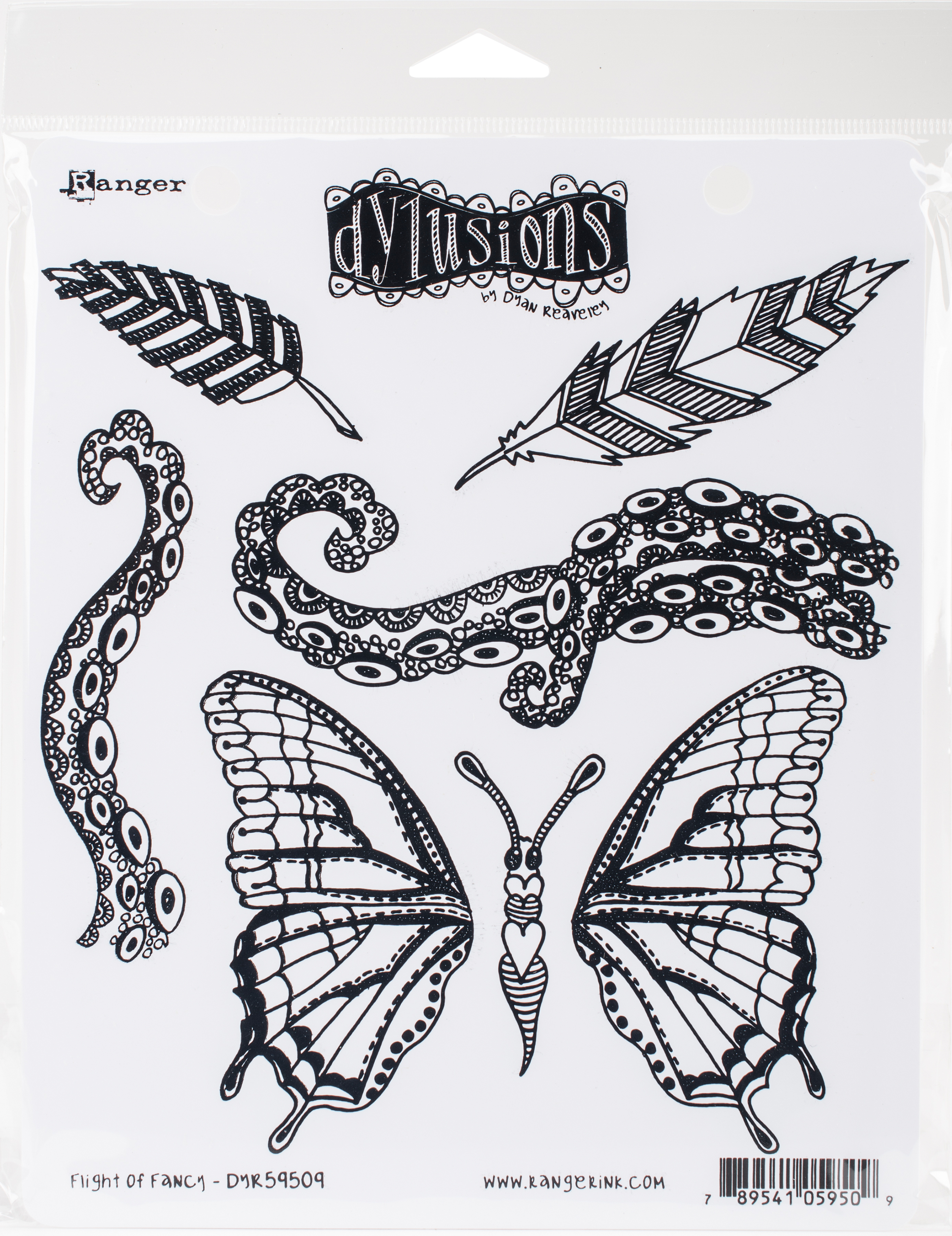 Dyan Reaveley's Dylusions Cling Stamp Collections 8.5X7-Flight Of Fancy