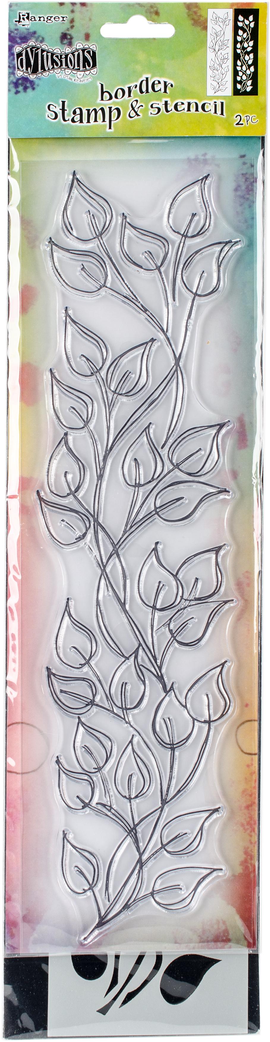 Dyan Reaveley's Dylusions Clear Stamp & Stencil Set 12-Leaf