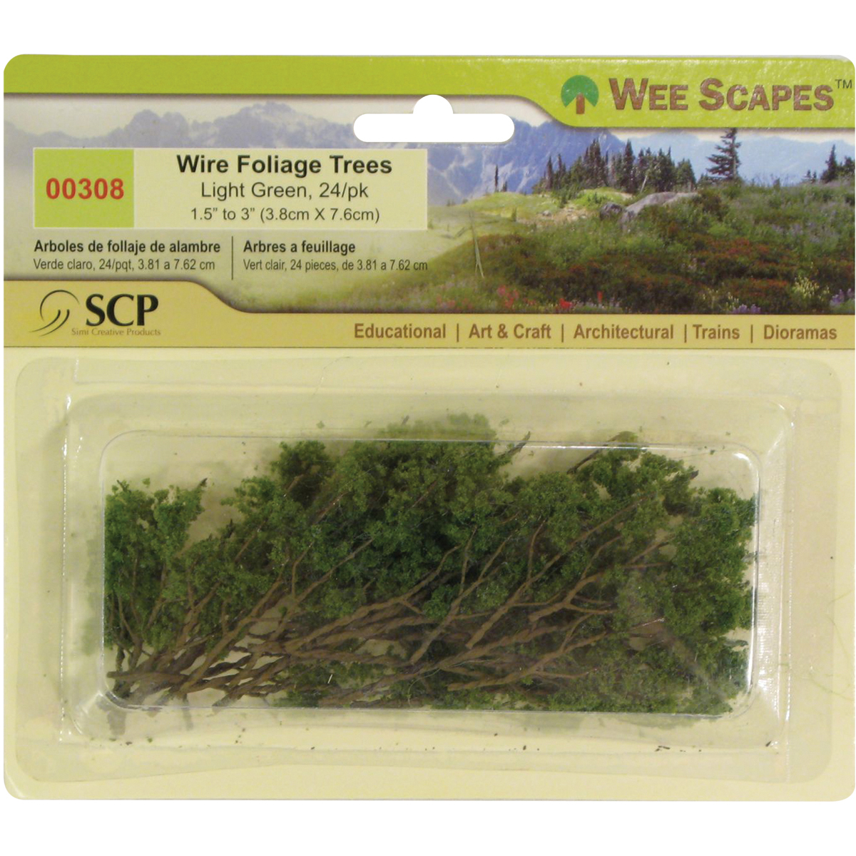 Wee Scapes Wire Trees, 1.5 to 3 Light Green Wire Foliage Trees - 24/Pkg.