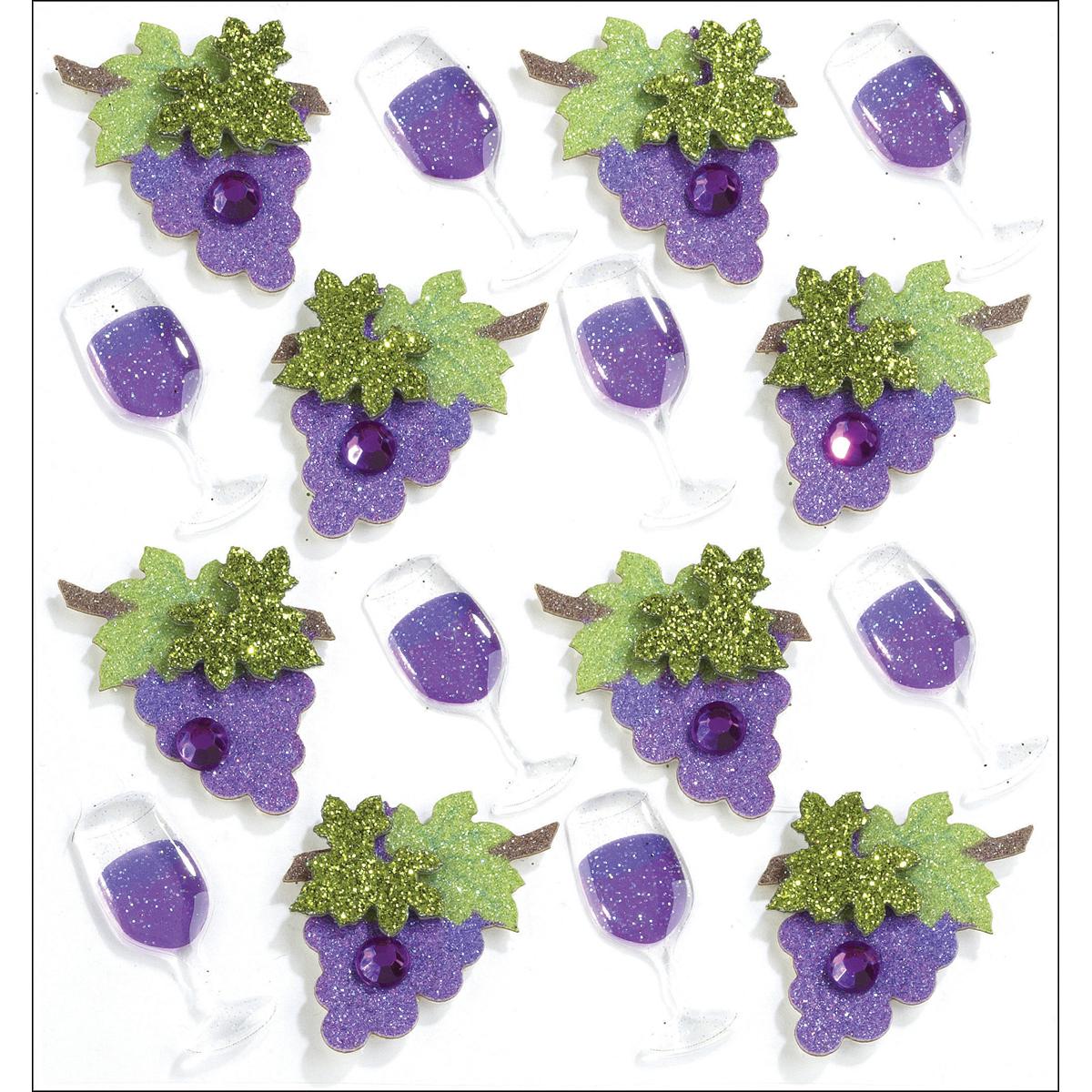 Wine Glasses & Grapes Dimensional Stickers