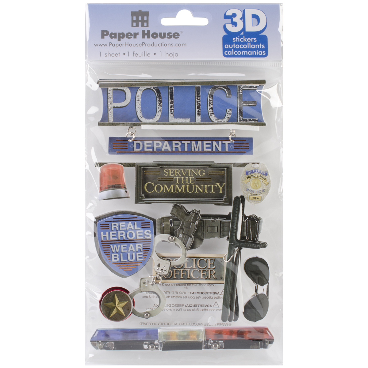 Paper House 3D Stickers 4.5X7.5-Police