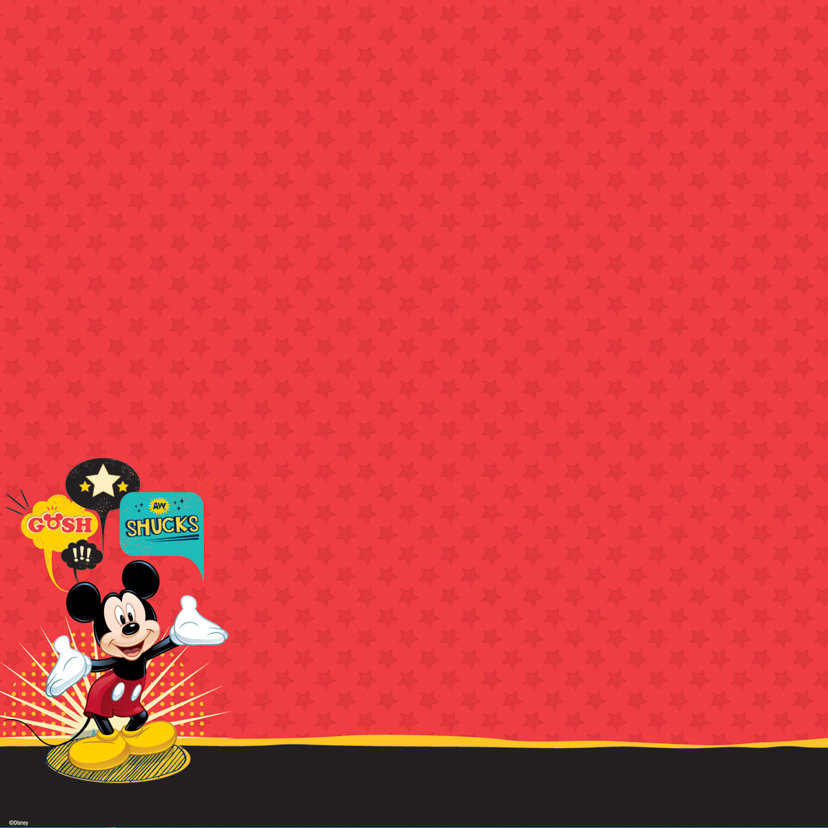 Disney Glittered Thermography Paper 12X12-Mickey Family - Mickey Mouse