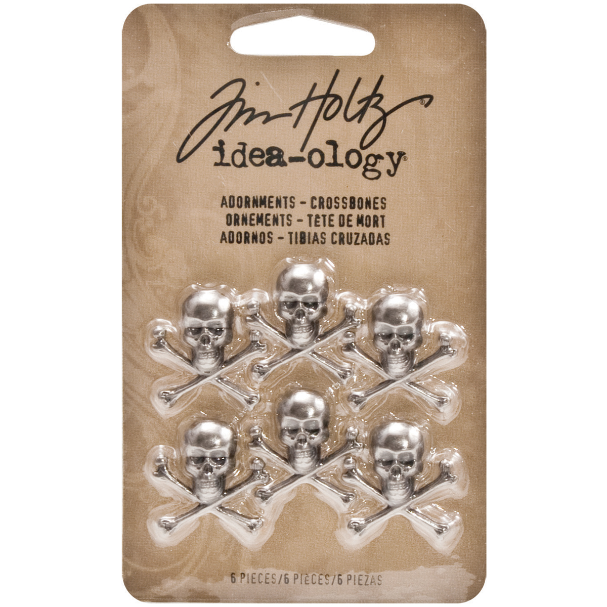 Idea-Ology Metal Adornments 6/Pkg-Antique Nickel Skull/Crossbones .75X.75