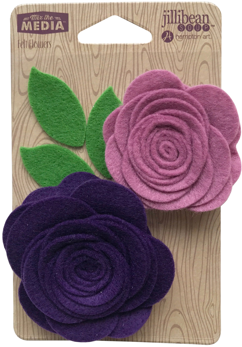 Felt Flowers Pocket of Purple