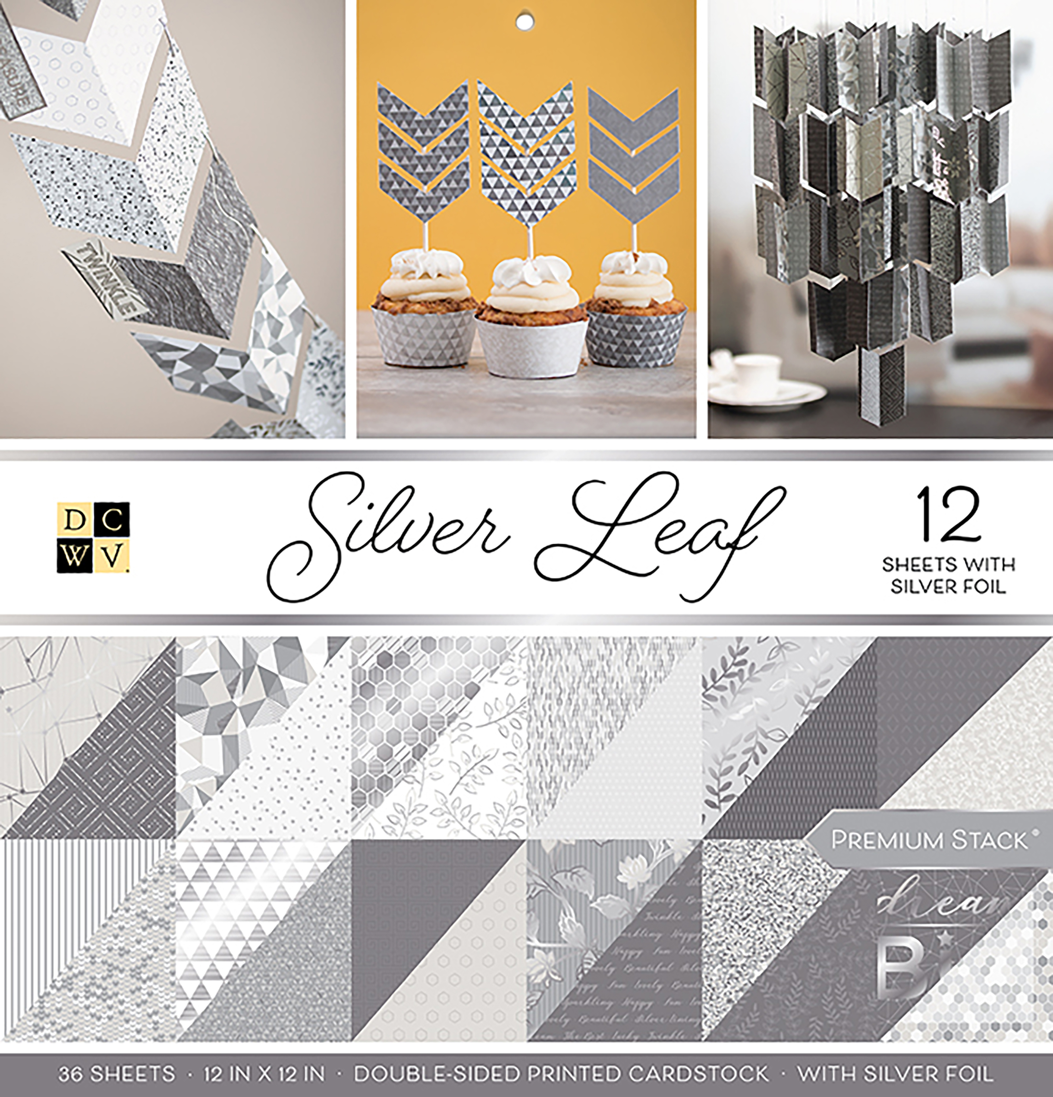 DCWV Double-Sided Cardstock Stack 12X12 36/Pkg-Silver Leaf, 18 Designs/2 Each