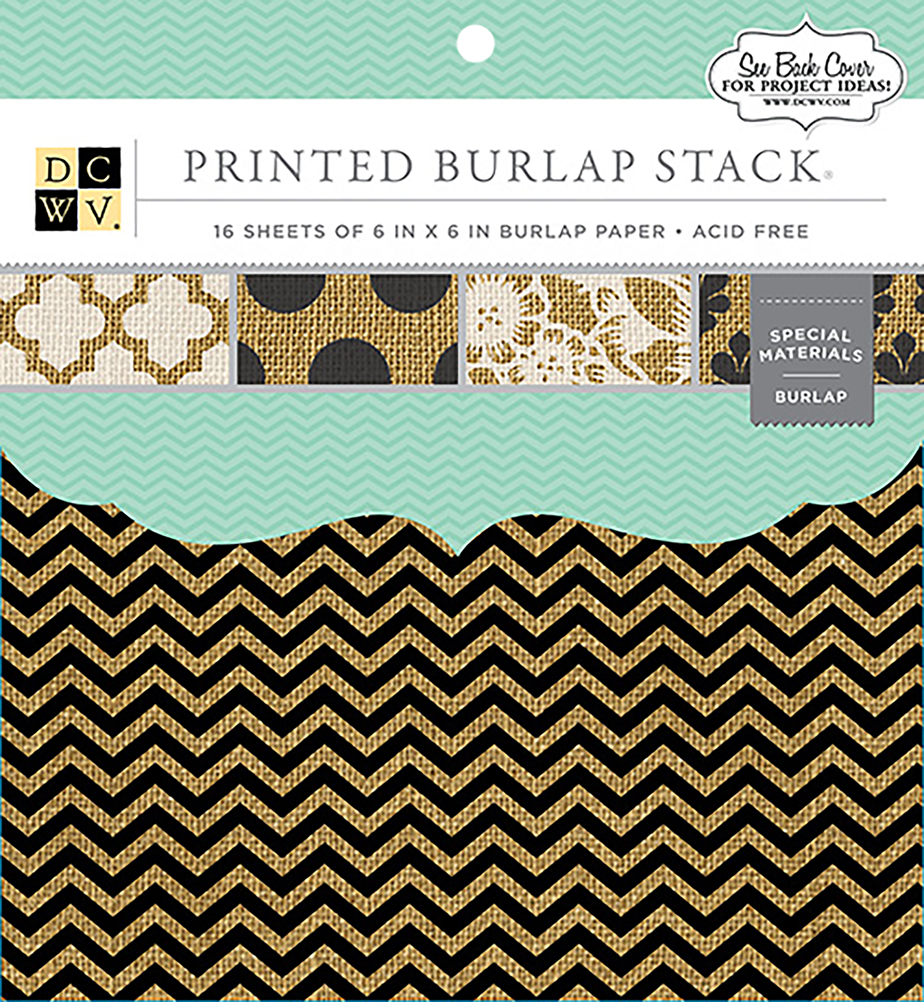 DCWV Single-Sided Specialty Stack 6X6 16/Pkg-Printed Burlap, 8 Designs/2 Each