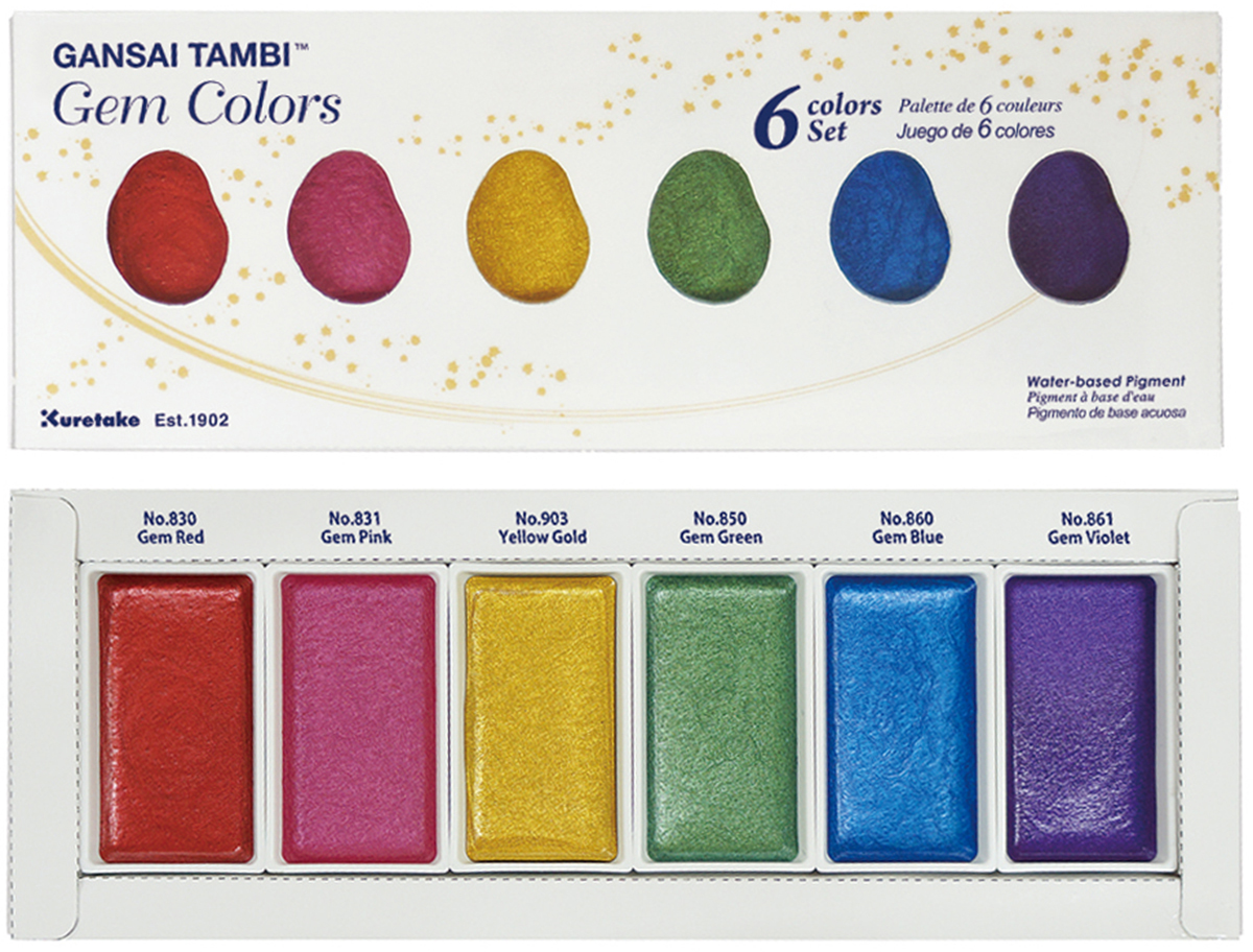 Kuretake Gansai Tambi 6 Color Set-Gem Colors