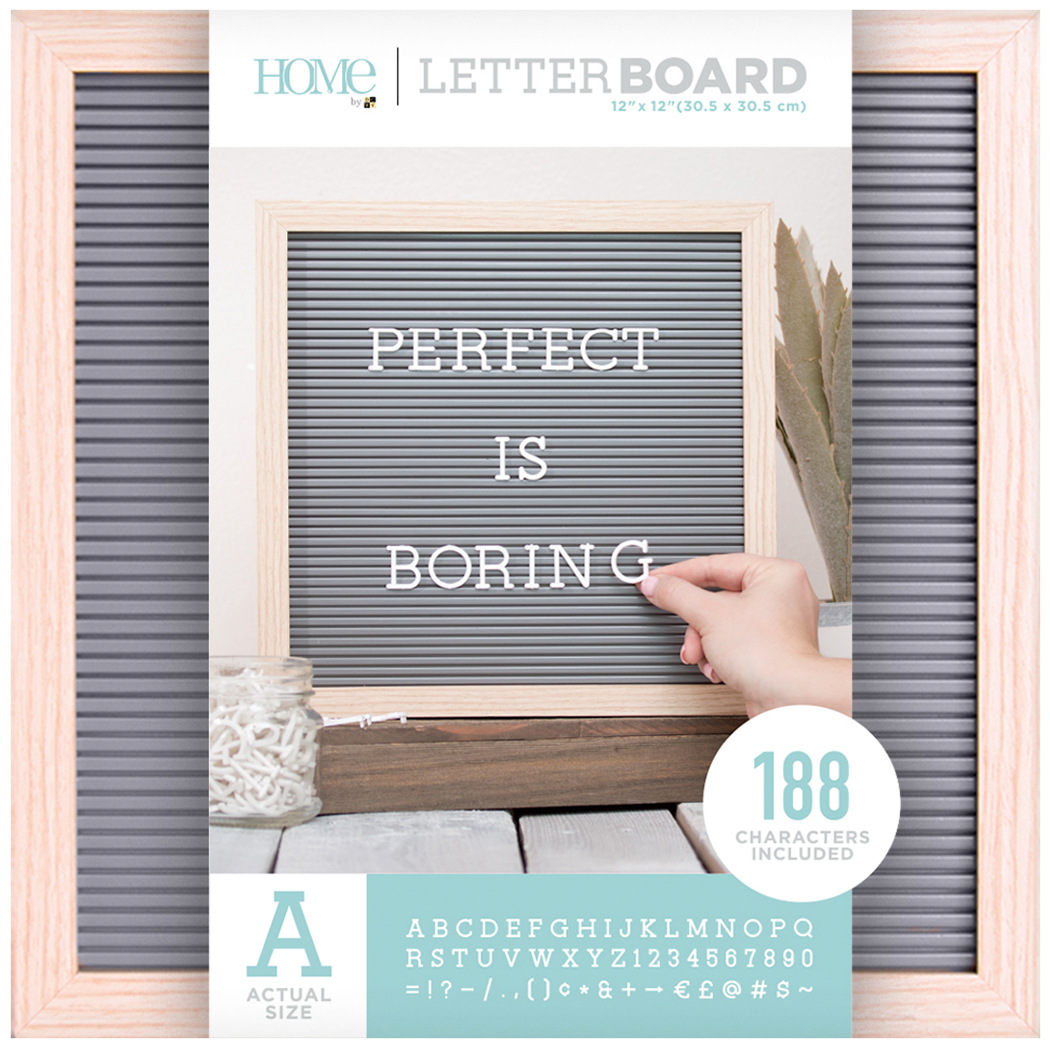 DCWV Framed Letterboard 12X12-Natural W/Gray Insert