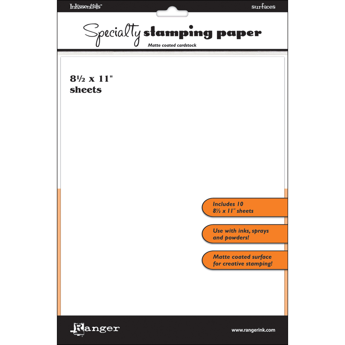 Inkssentials Specialty Stamping Paper 10/Pkg-White 8.5X11