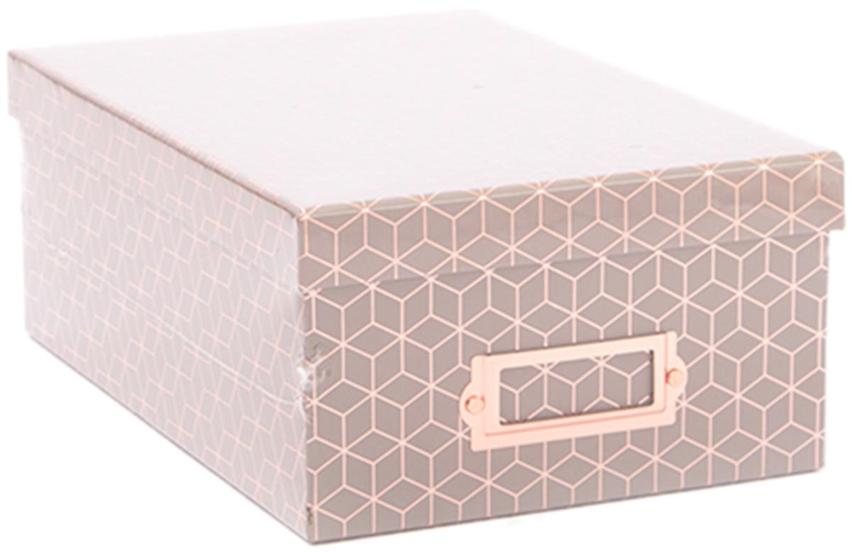 DCWV Photo Box W/Bookplate 11X7.375X4.375-Gray Geo W/Rose Gold Foil