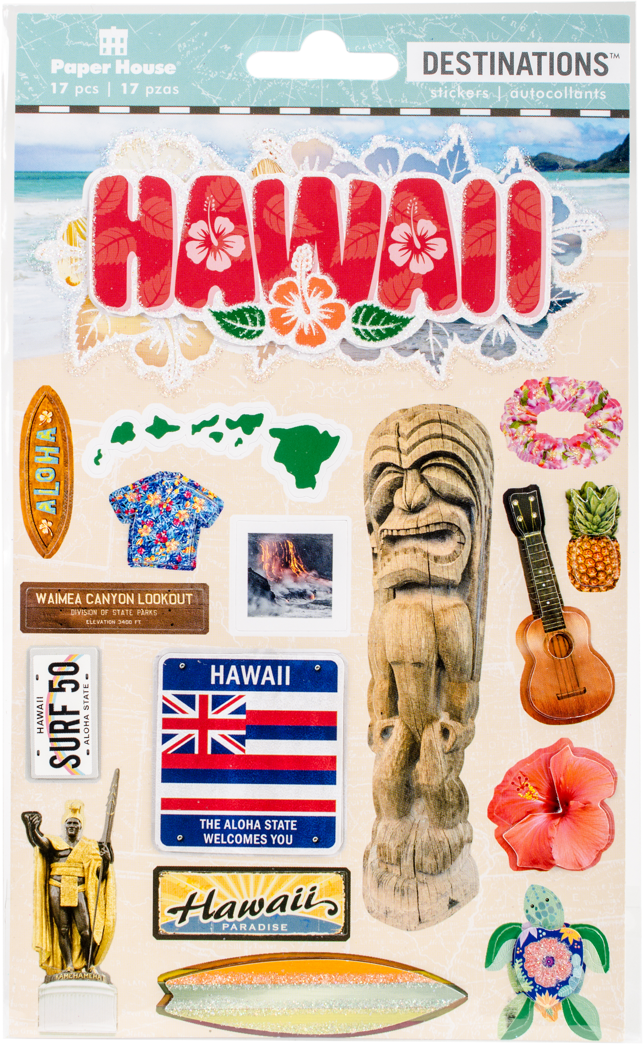 Hawaii - Paper House 2-D Stickers, Travel Hawaii