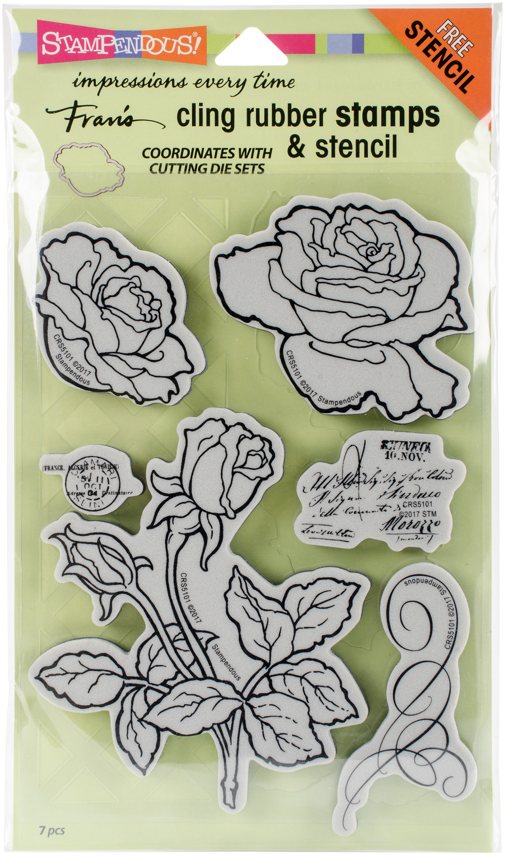 Stampendous Cling Stamps & Stencil Set-Rose Garden