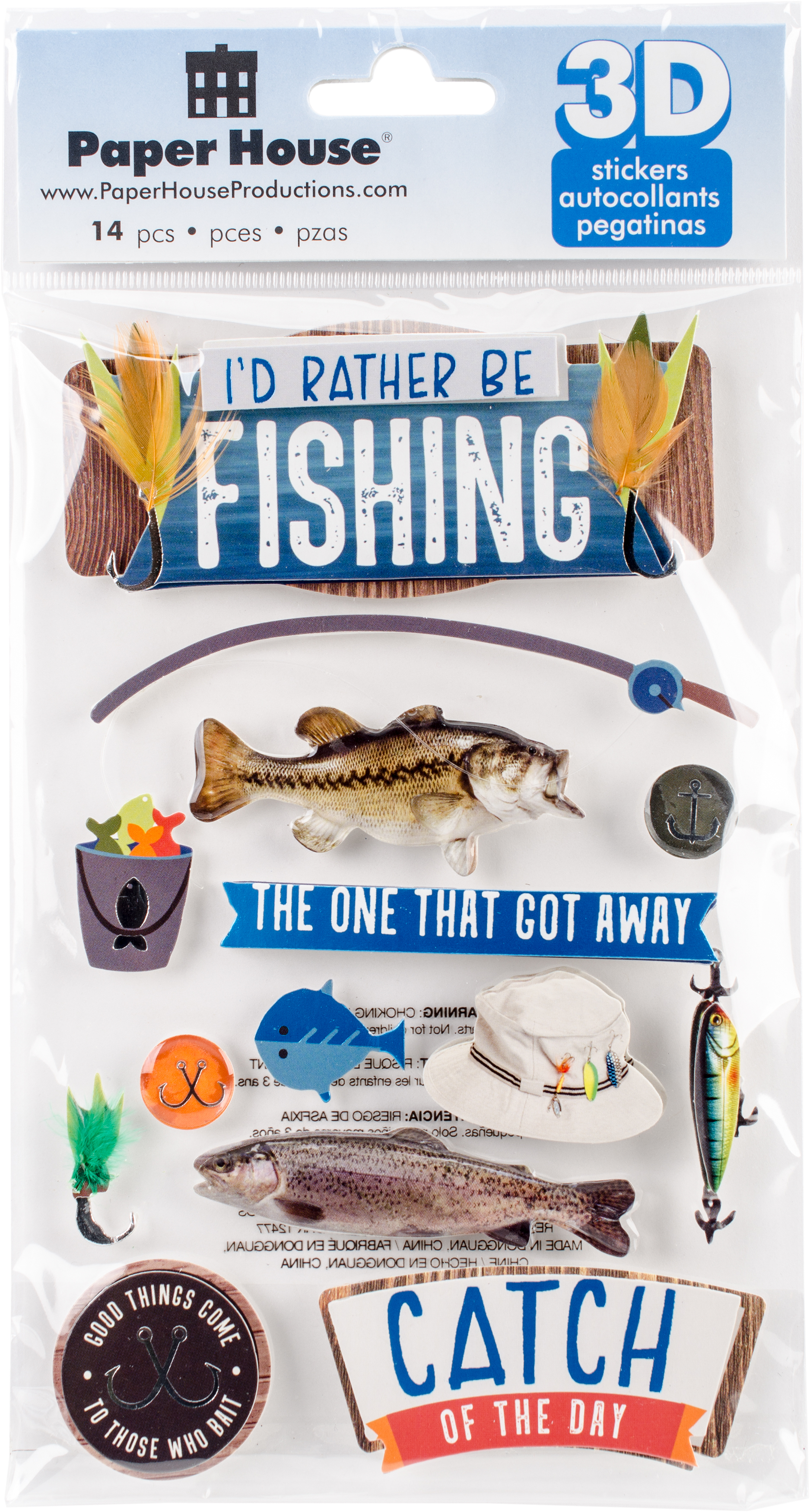 BE FISHING-DIMENSIONAL STICKER