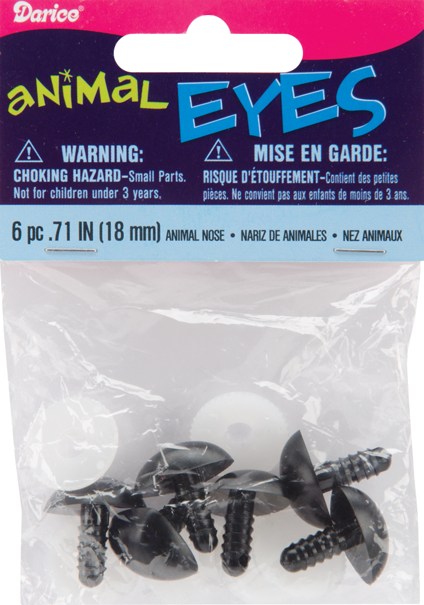 Shank Back Animal Noses 18mm 6/Pkg-Black