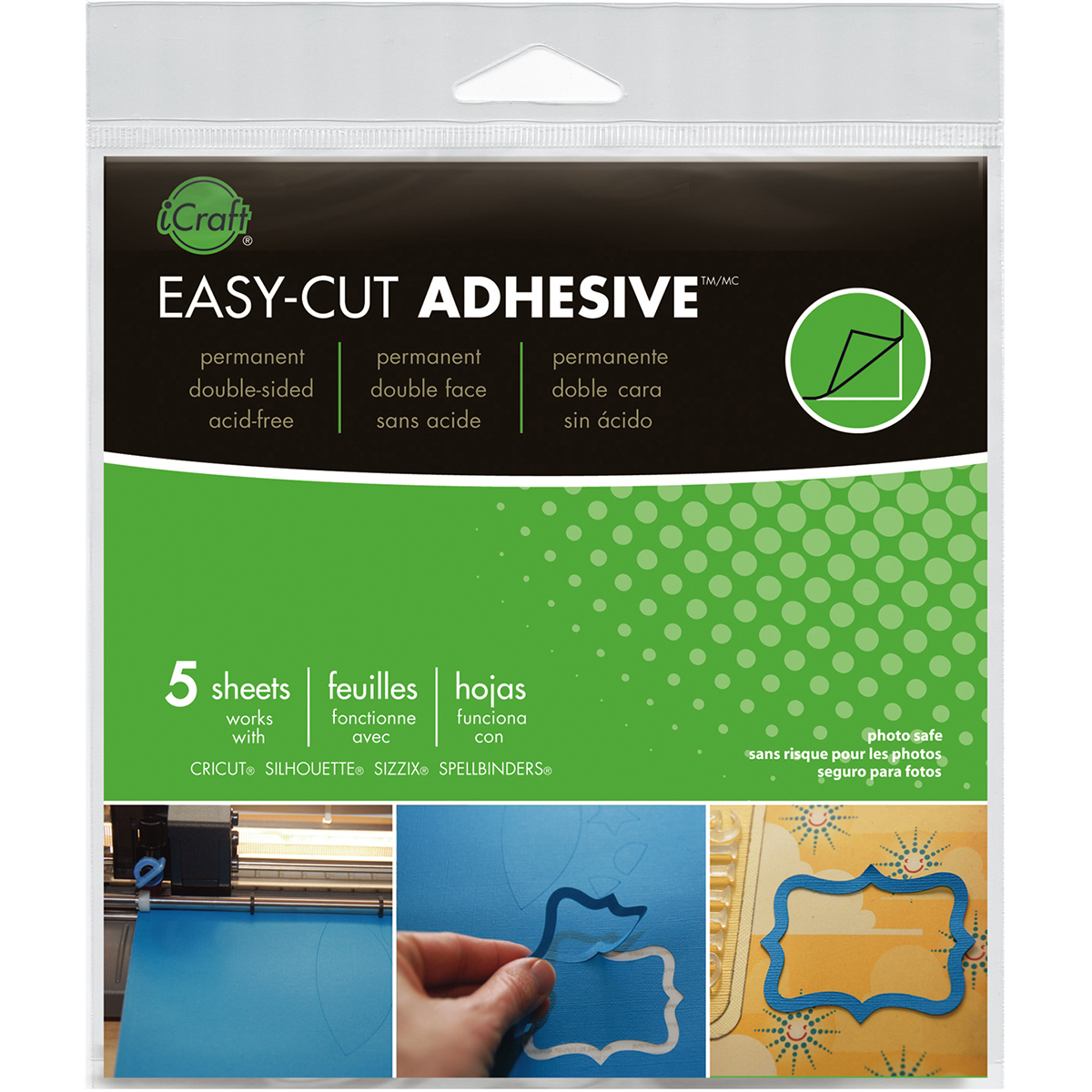 iCraft Easy-Cut Adhesive Sheets-5.75X5.75 5/Pkg