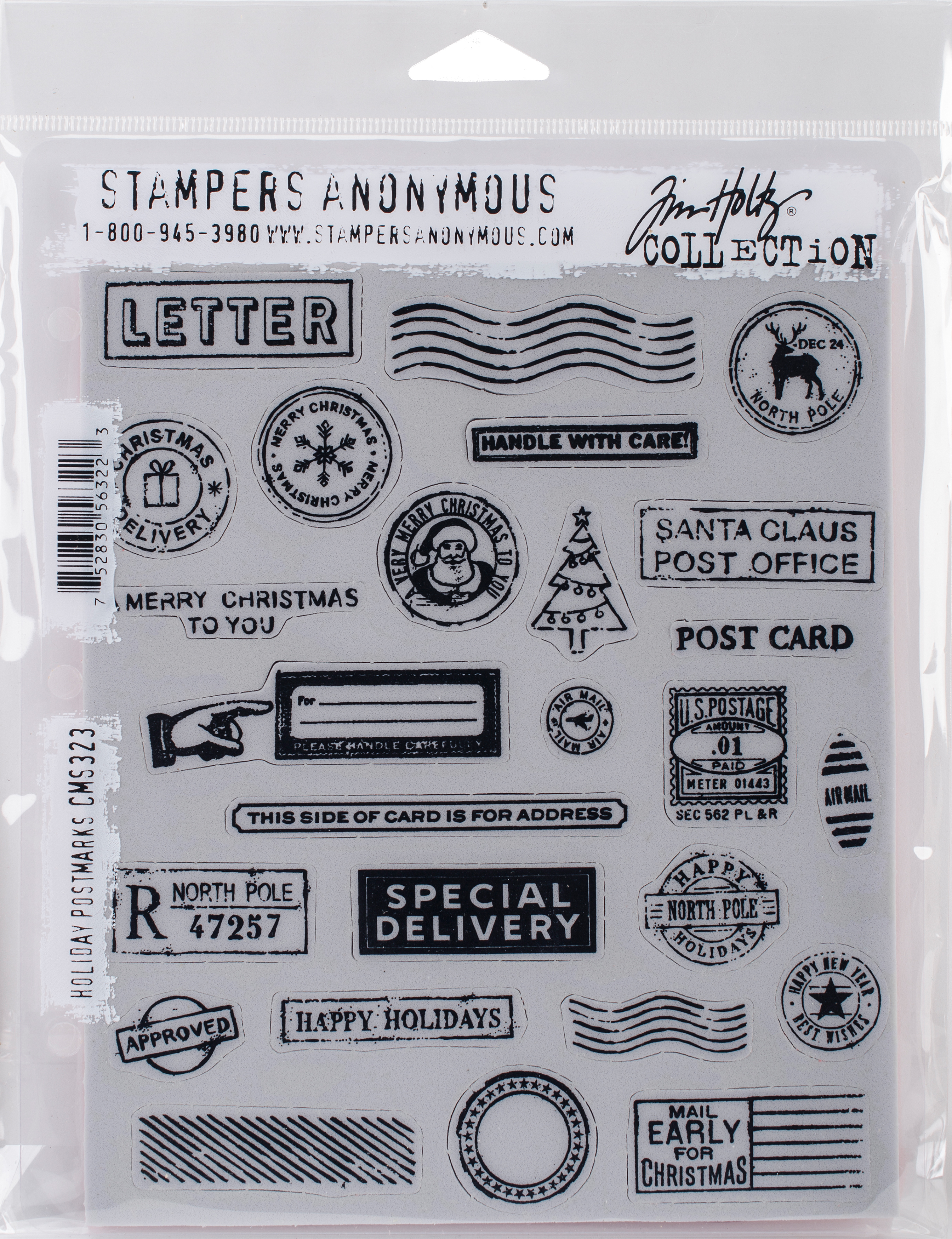Tim Holtz Cling Stamps 7X8.5-Holiday Postmarks