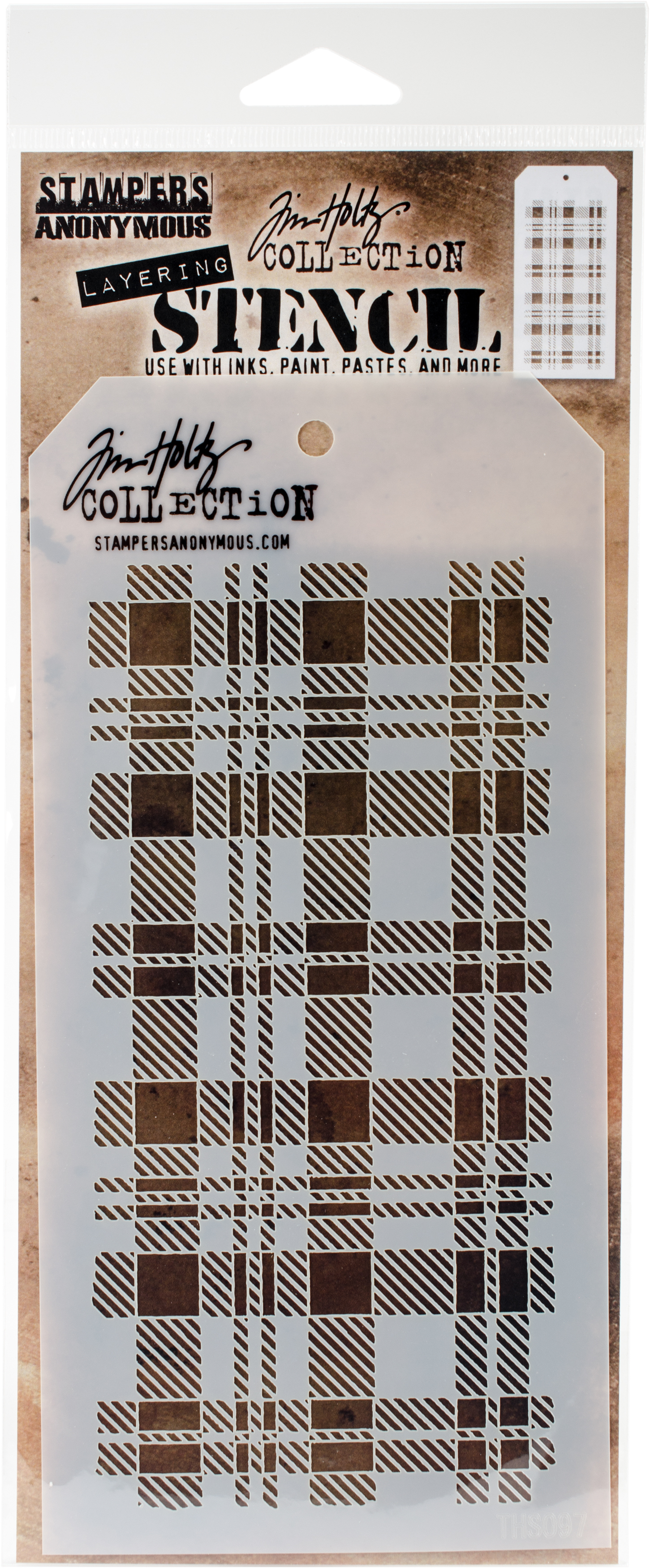 Tim Holtz Layered Stencil 4.125X8.5-Plaid