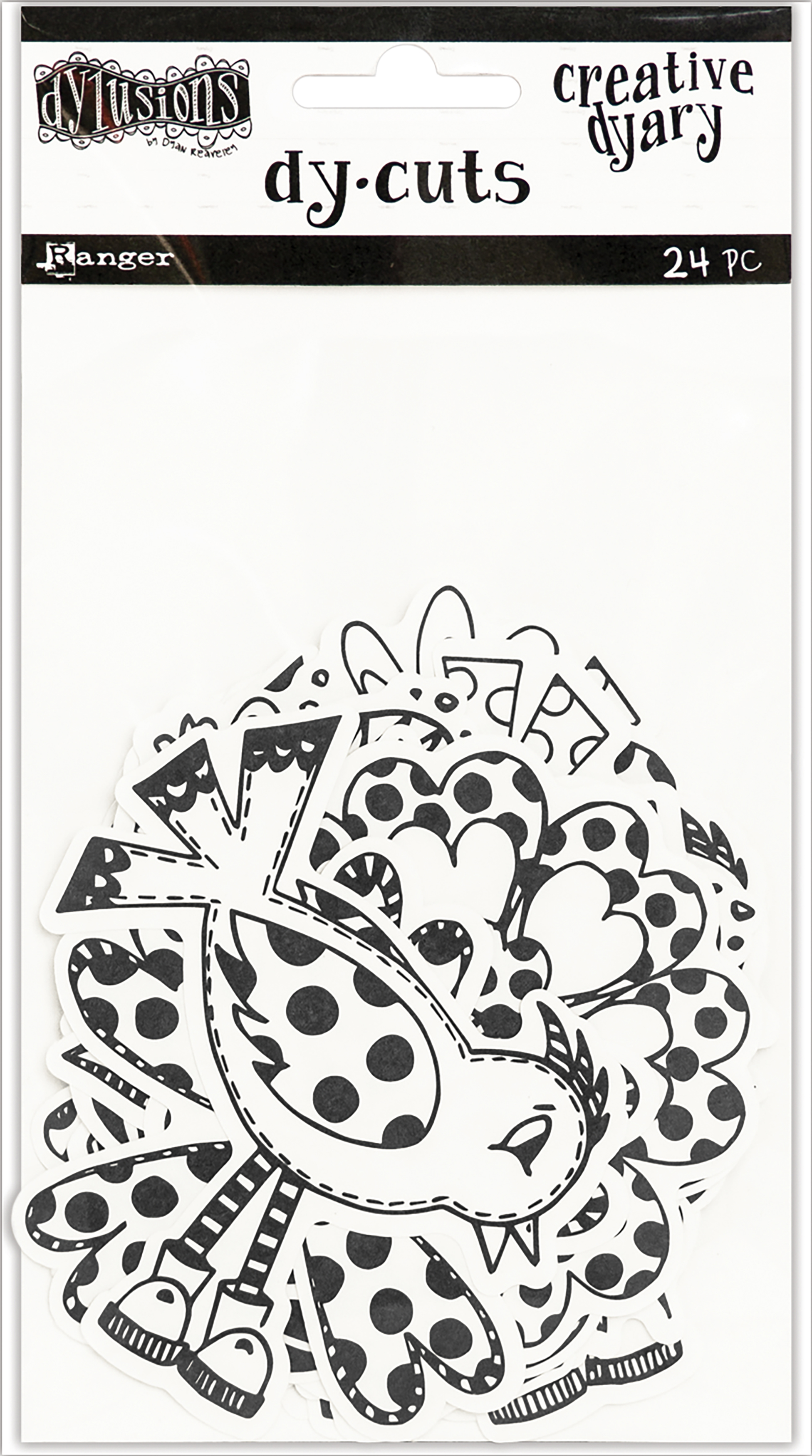 Dyan Reaveley's Dylusions Creative Dyary Die Cuts-Black & White Birds & Flowers