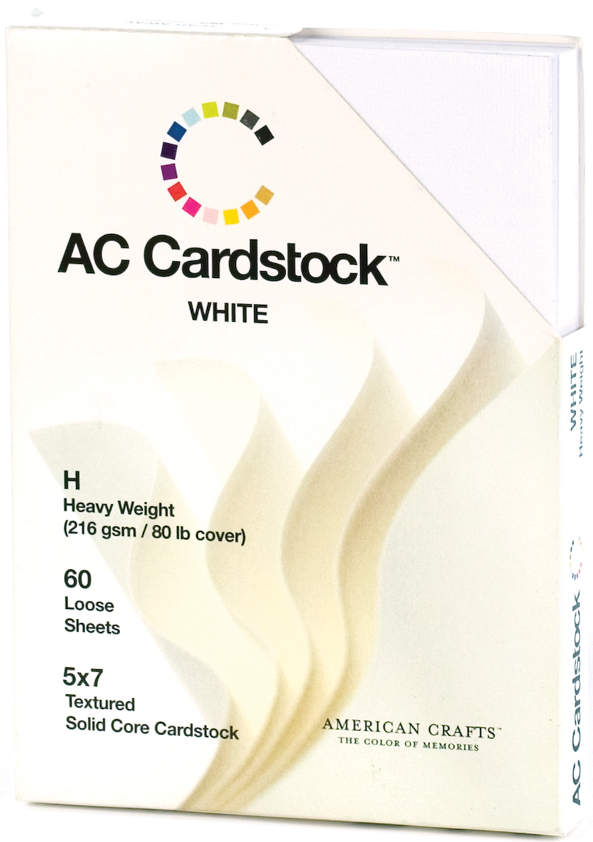 American Crafts Textured Cardstock Pack 5X7 60/Pkg-Solid White