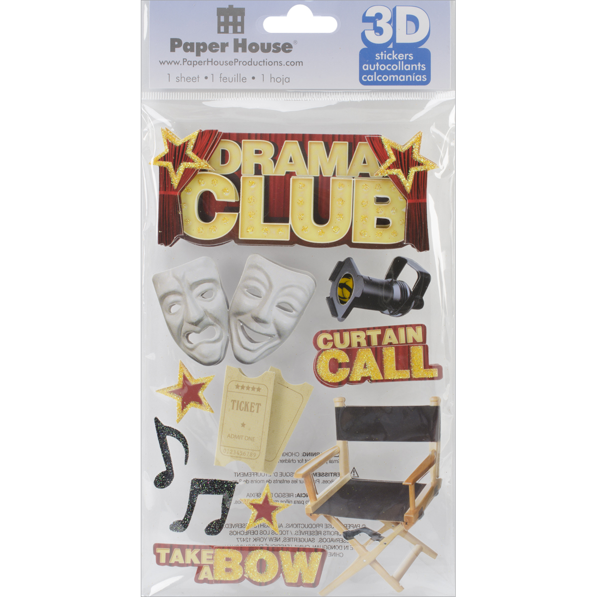 Paper House 3D Stickers 4.5X7.5 -Drama Club