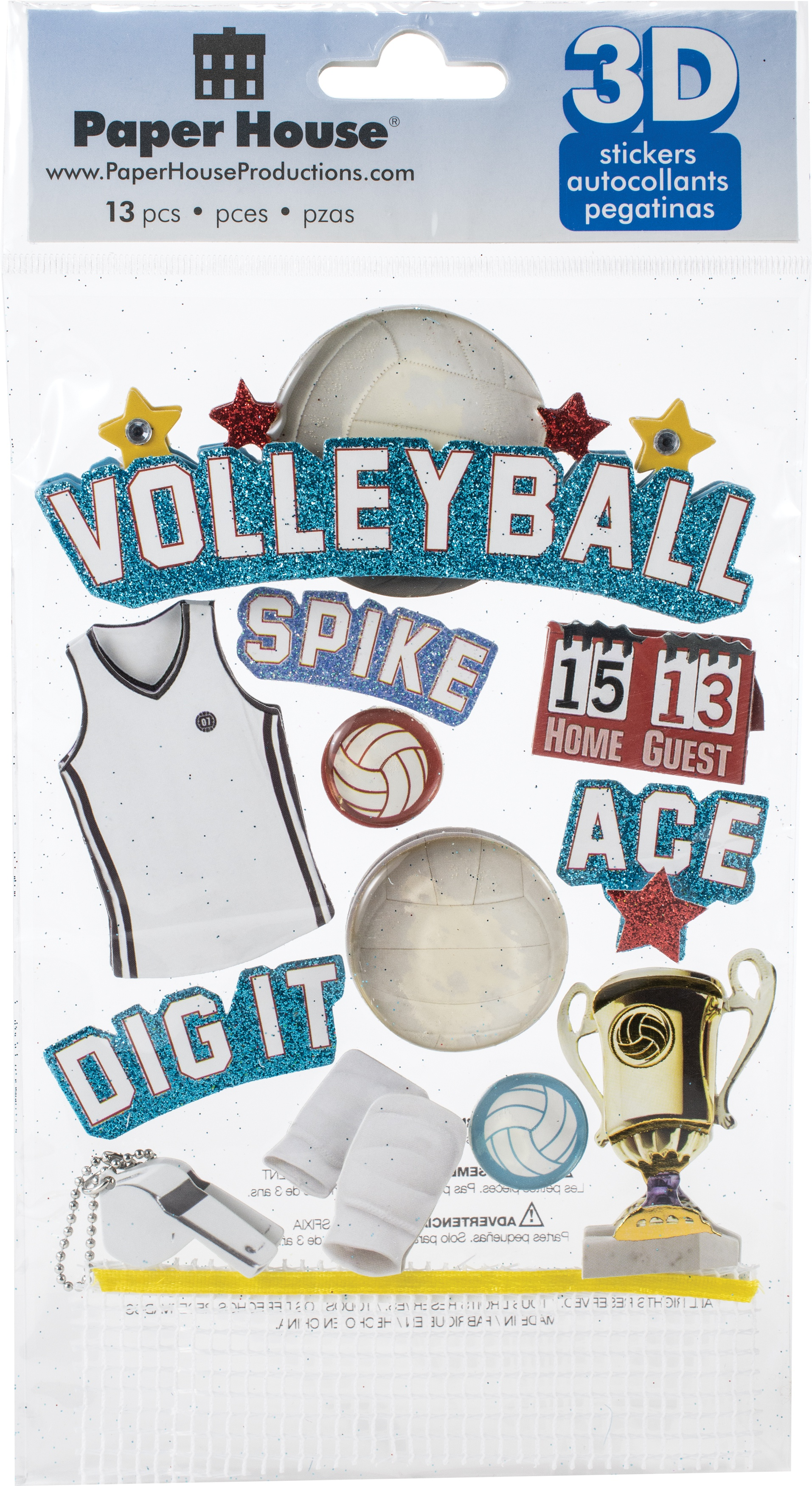 Paper House 3D Stickers 4.5X7.5 -Volleyball