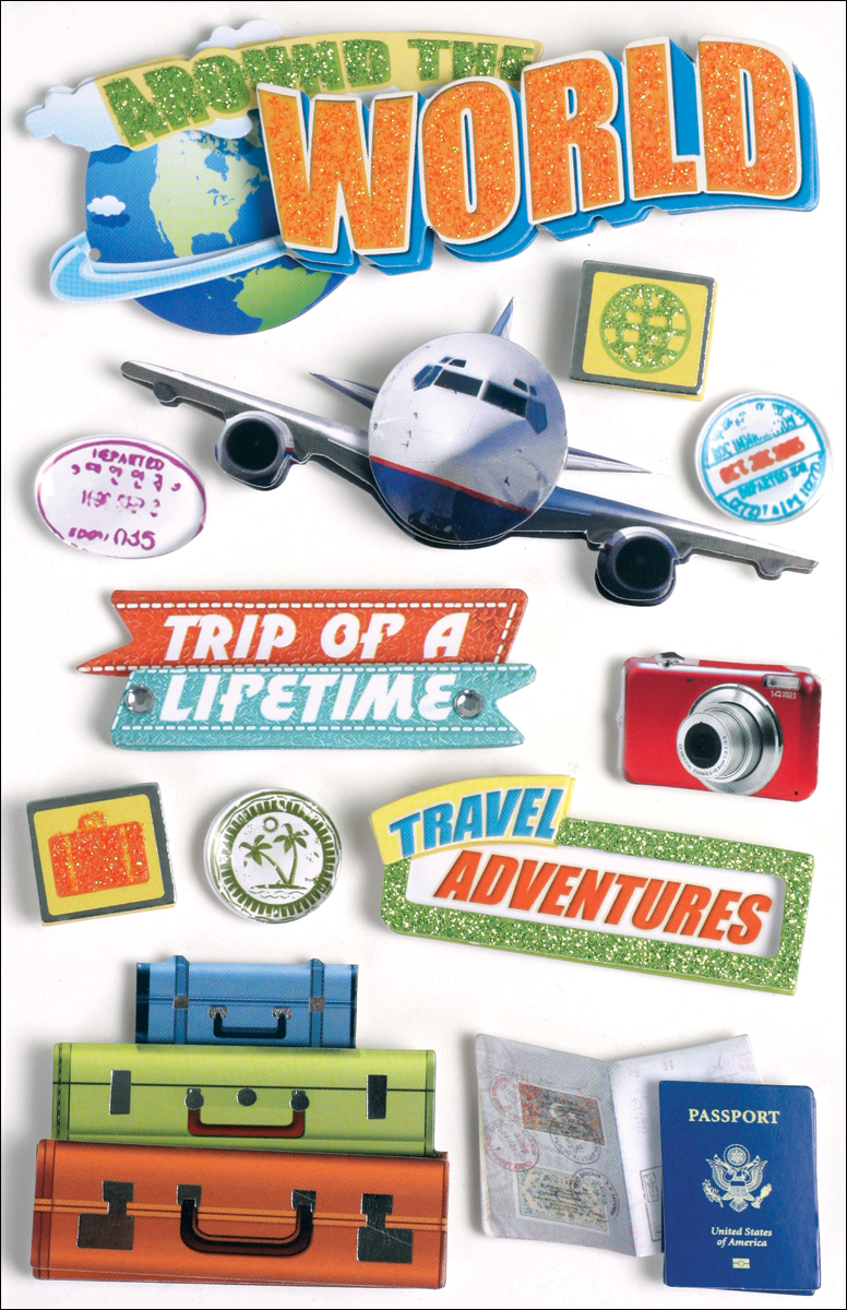 Paper House 3D Stickers 4.5X7.5 -World Travel