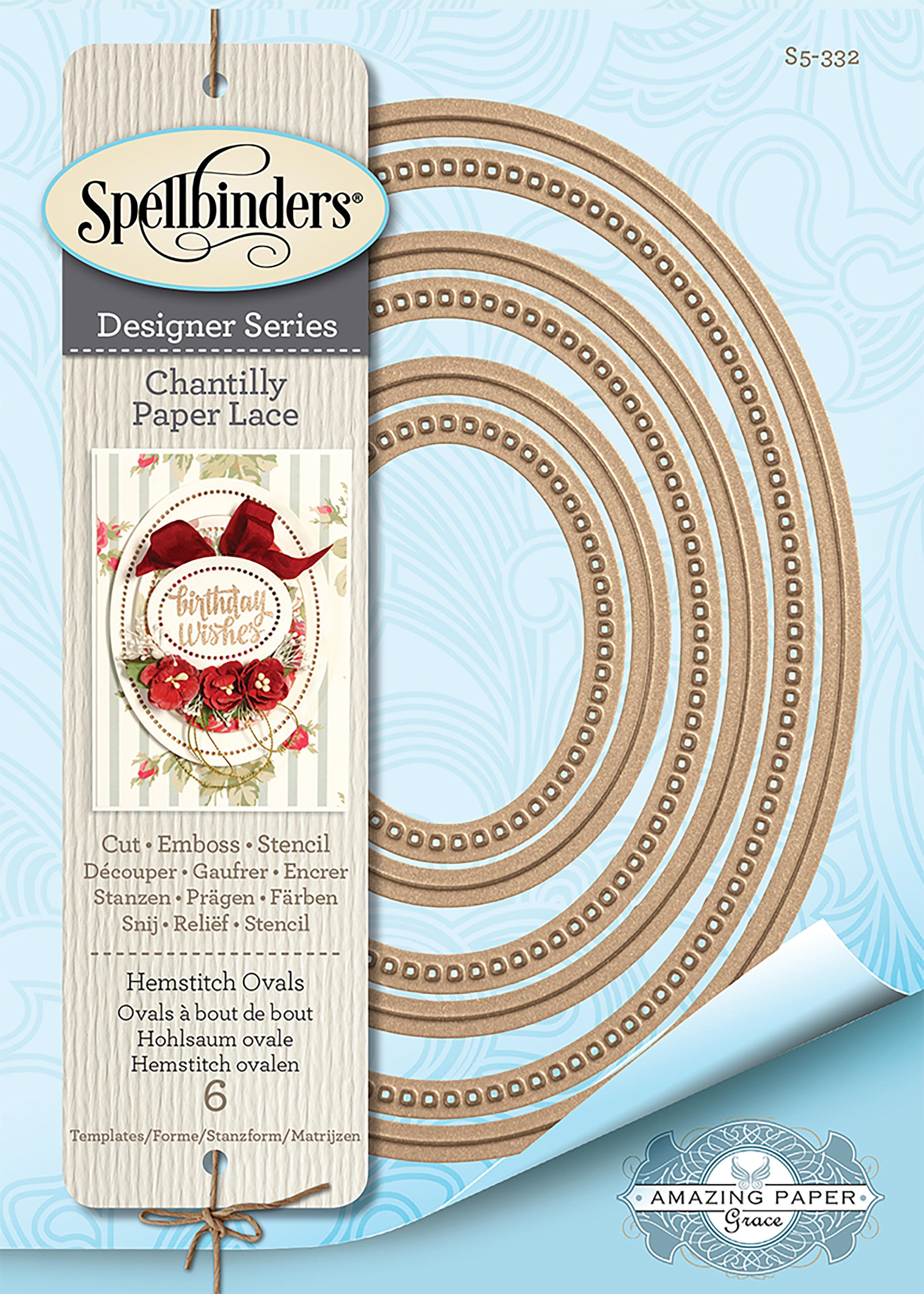 Spellbinders Chantilly Paper Lace By Becca Feeken-Hemstitch Ovals 1.75 to 5.5