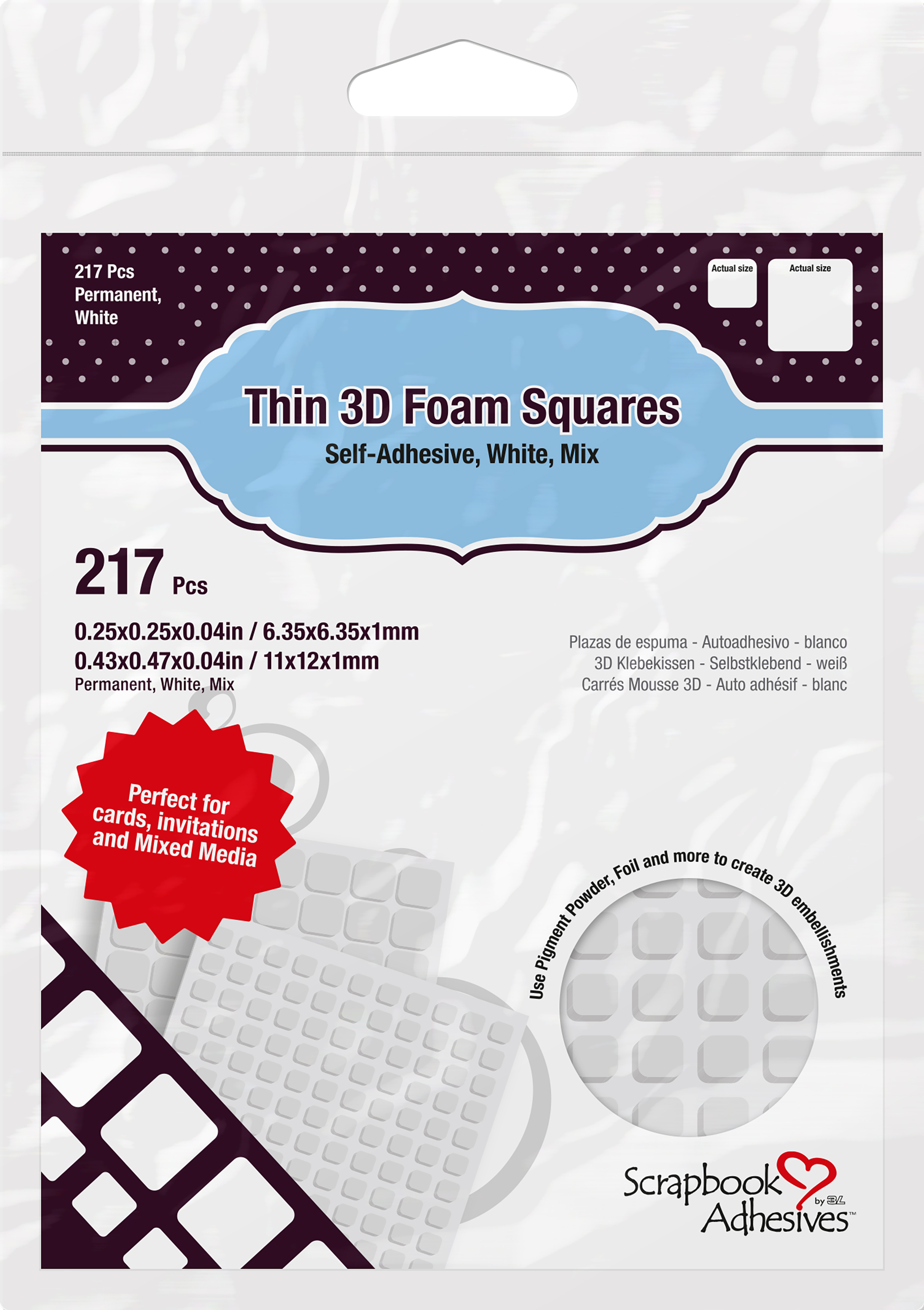 Scrapbook Adhesives Thin 3D Adhesive Foam Squares 217/Pkg-White (63) .43X.47 &...