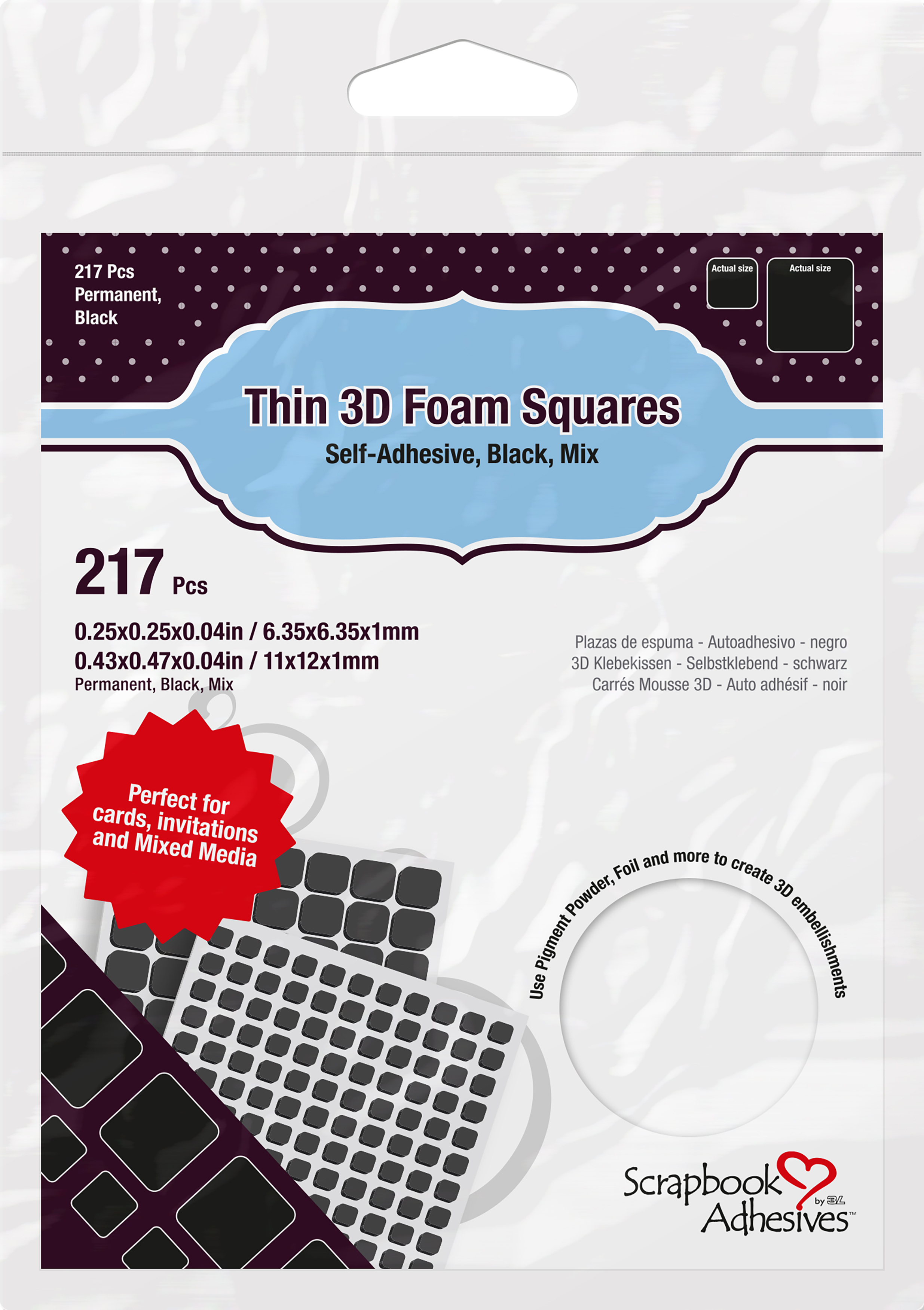 Scrapbook Adhesives Thin 3D Adhesive Foam Squares 217/Pkg-Black (63) .43X.47 &...