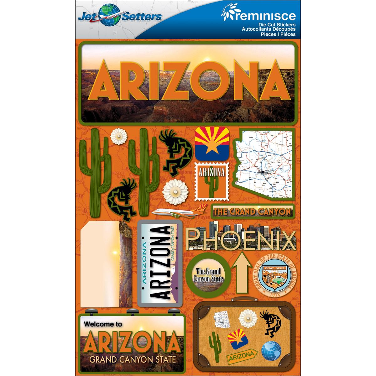 Arizona - Reminisce Jet Setters State Dimensional Stickers