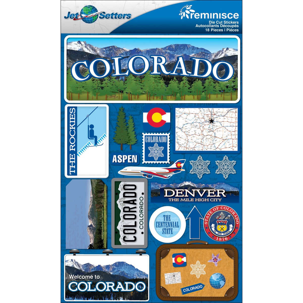 Colorado - Reminisce Jet Setters State Dimensional Stickers