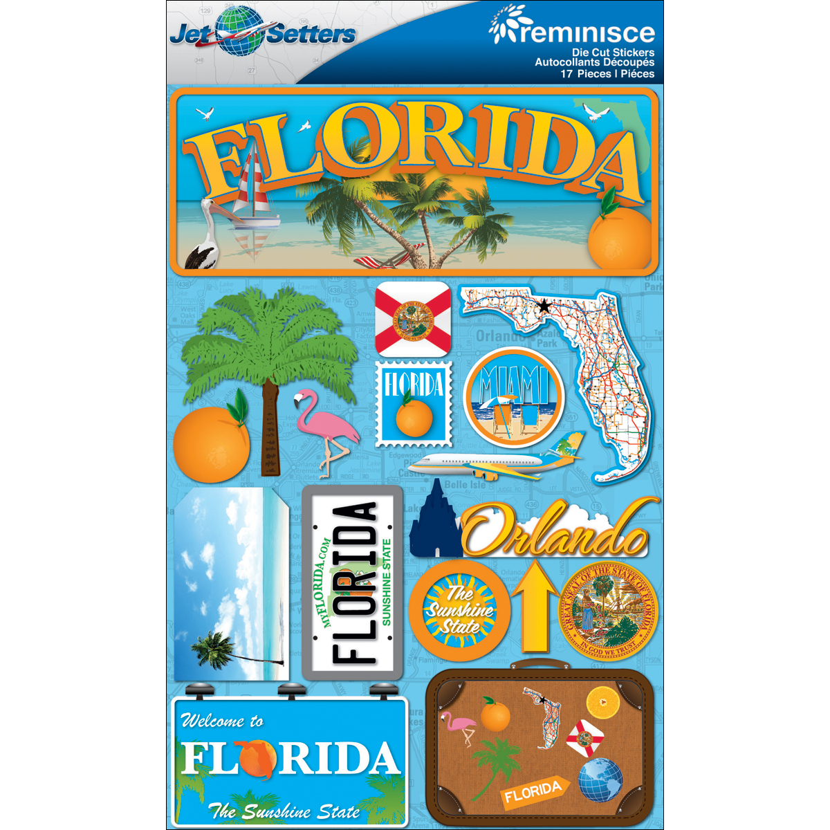 Florida - Reminisce Jet Setters State Dimensional Stickers